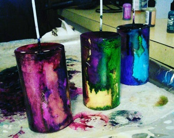 Colorful Jewel Tone Christmas Tree Scented Soy Pillar Candles