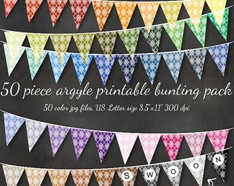 HUGE Argyle Bunting - Printable Editable 51 Piece Preppy Bunting Download - St Patricks Golf Party Banner Flags Wedding Holiday Custom