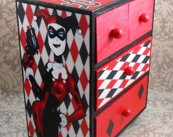 Custom Harley Quinn Red and Black Stash Jewelry Box