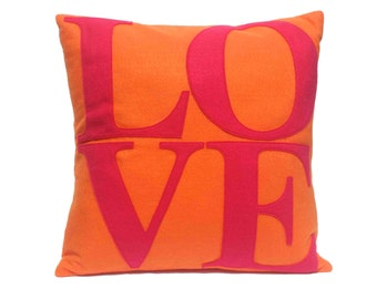LOVE Throw Pillow Cover Appliquéd in Pink on Orange Eco-Felt 18 inches