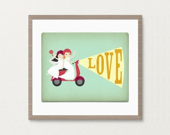 Bride and Bride Lesbian Moped Love Wedding - Customizable 8x10 Archival Art Print