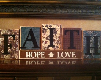 FAITH HOPE LOVE Wood Block Sign / Religious Sign / Home Decor / Fireplace mantel or bookshelf decor