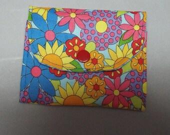 Mini Wallet, Small Wallet, Summer Flowers Fabric