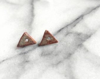 Triangle tiny porcelain stud earrings in earthtone stone-like green and brown
