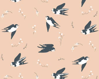 Happy Swallow Knit - Organic cotton -  from Little by Jenny Ronen for Birch Fabrics
