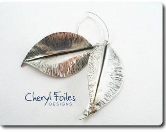 Sterling Silver Fold Form Leaf Earrings