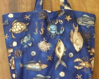 Nautical Tote Bag, Sargasso Sea Bag, Coastal Shopping Bag, Jumbo Market Tote, Blue Beach Bag, Gifts for Fishermen, Fishing Bag, Ocean Gifts