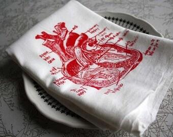 Anatomical heart diagram tea towel - white cotton floursack kitchen towel