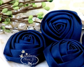Sierra: 4pcs NAVY BLUE - 50mm Adorable Rolled Satin Rose Rosettes Fabric flowers. Hair Accessories. Fascinator. Rose Flowers.