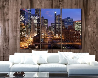Chicago Skyline Canvas Set, Large Wall art of Chicago Print, Chicago Canvas, Chicago Art, Chicago Photo, Chicago River, Chicago Poster
