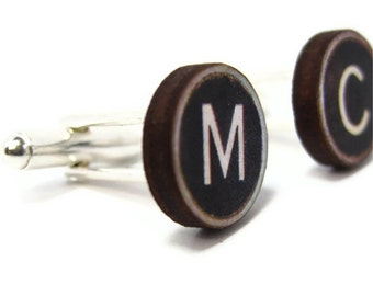 Personalised Typewriter Key Cuff Links with Silver Backs.  Pick your own keys.