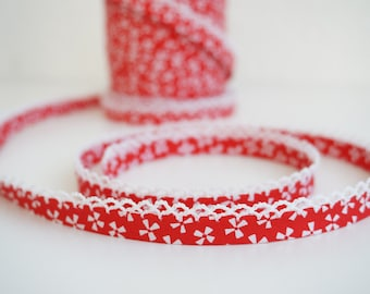 3 yards Red Bias Tape, Floral Bias Binding, Double Fold Bias, Bias Trim, Bias Binding, Lace Edged Bias Binding, Decor Bias Tape, Lace Trim