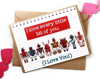 Valentine's Day Science Binary Robots Science Love Card