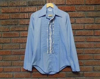 Vintage 70s Blue Tuxedo Shirt Men's M