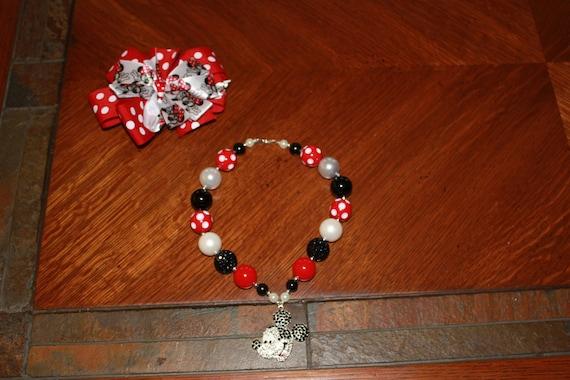 Disney Mickey Mouse Bubblegum necklace,Handmade Necklace,Chunky Beaded Necklace, Girls Necklace, Birthday Necklace