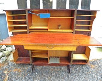 vintage mid century Danish folding desk cabinet complete with original light