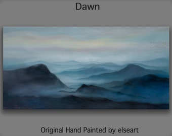 Wall Art Landscape Painting Original oil Painting Moody mountains skyline 48x24