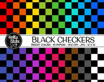 50% off SALE!! 16 Black Checkers Digital Paper • Rainbow Digital Paper • Commercial Use • Instant Download • #CHECKERS-102-BB