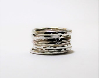 Stacking Ring - Sterling Silver Stacking Ring - Thin Stacking Ring- Hammered Ring - UK Handmade by Lady C Jewellery