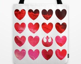 Star Wars Tote Bag  Rebel Scum Alliance Hearts Watercolor Tote Bag