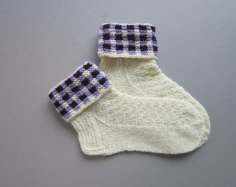 Wool Socks Hand Knit  Socks For Women White Wool Socks