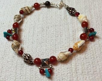 Seashell, Tourquise, carnelian, and Silver bracelet.