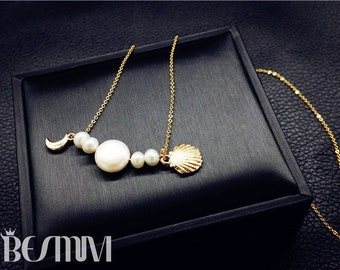 14k gold baroque pearl necklace