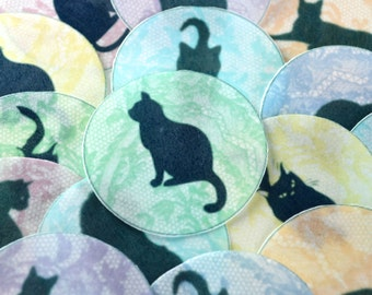 Edible Black Cats Purrrfect Pastel Lace Wafers Rice Paper x 15 Halloween Cake Cupcake Biscuit Cookie Decoration Toppers Med. Circles 5cm RTD