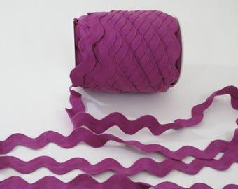 "Jumbo Rickrack Sewing Trim, Magenta Purple Ric Rac, Serpentine Trim,   1-7/16"" wide, 36 mm wide, 3 yards,"