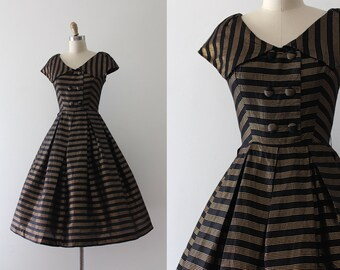 vintage 1950s dress // 50s black and gold party dress