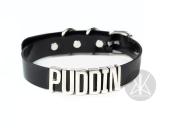 Harley Quinn PUDDIN Choker Replica | Cosplay | Suicide Squad Movie | Halloween Costume | HarleyQuinn | Comics | Small Letters - SILVER