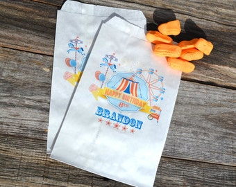 Birthday Party Favor Bags Circus Tent Carnival   Personalized Bags   Goodie Bags   Candy Bags   Carnival Birthday   Circus Party Favor
