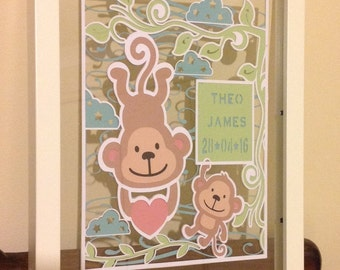 New Baby - Cheeky Little Monkeys - Personalised Paper Cut Layered in Floating Frame