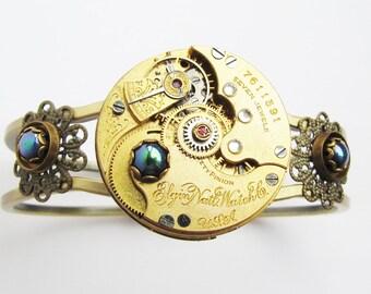 Steampunk Antique Elgin Watch Movement Hinged Bracelet, Steampunk Bracelet, Antique Watch Bracelet, Gold Watch Movement Bracelet, BR15