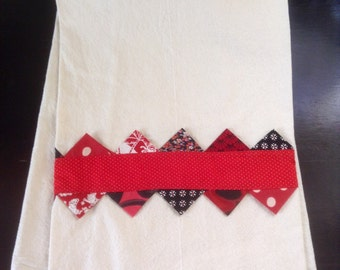 Prairie Point Dish Towel--Red and Black