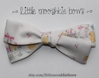 Hand Tied Gracie bow~Vintage Easter~Girls Hair Bow~Fabric Bow~Baby Bows~Hand Tied Bow~Easter Bow~Baby headband~Easter~bunny~chick~easter egg