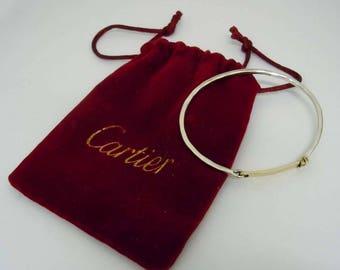 Rare Vintage Hammered 18Kt Gold Sterling Silver Cartier Tension Name Plate Bangle Bracelet