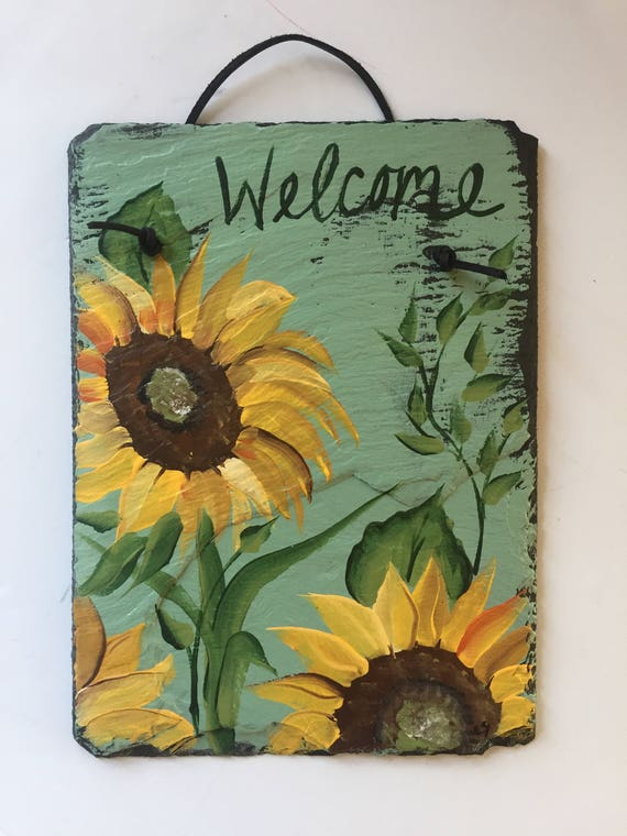 Sunflowers Painting on Slate, Autumn wall hanging, Fall decorations, Sunflower wall hanging , 12 x 8 slate, Thanksgiving decor