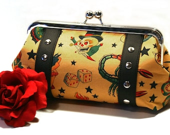 Tan Tattoo Clutch with Your Choice of Vinyl Trim, Kisslock Frame - MADE TO ORDER