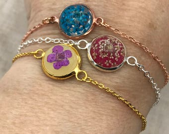Turquoise Pressed flower jewelry, pressed real flower bracelet, Flower charm bracelet, bridesmaid jewelry, dried flower  bracelet, anklet,