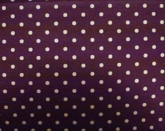 One Yard Quilt Cotton Fabric Chocolate Brown with White Dots