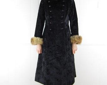 Vintage 60's BEST Russian Princess Coat Genuine Fur Trim Hood S