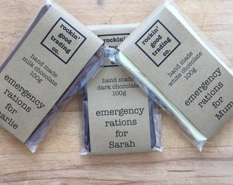 """chocolate bar """"emergency rations"""" 100g - choose from dark, milk or white hand made chocolate"""