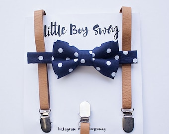 Tan Leather Suspenders and Navy Bow tie for boys, Boys Suits, Suits, Rustic Wedding, Ring Bearer Outfit, Baby Boy Bow Tie, Kids Suspenders