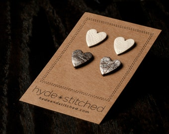 Shiny Hearts: heart shaped leather earring set, two pair of leather heart stud earrings, handmade leather jewelry