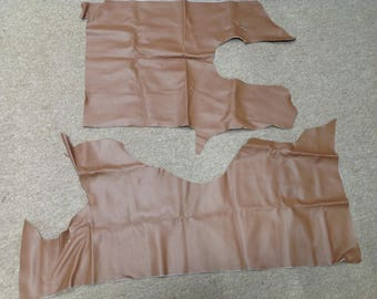 BR383. Brown Package of 2 Leather Cowhide Remnants