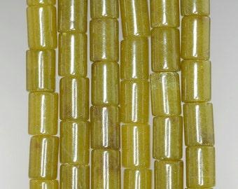 12x8mm Olive Jade Gemstone Green Round Tube Loose Beads 15.5 inch Full Strand (90182251-376)