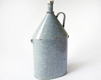 Vintage Graniteware Canteen, Gray Granite Ware Jug, Grey Enamelware Flask, Enamel Bottle, Porcelain Stopper, Rustic Country Kitchen Decor