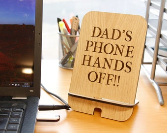 Personalised Phone Holder, Wooden Phone Holder, Wooden iphone Stand, mobile phone docking, engraved wood phone holder, Father's Day Gift