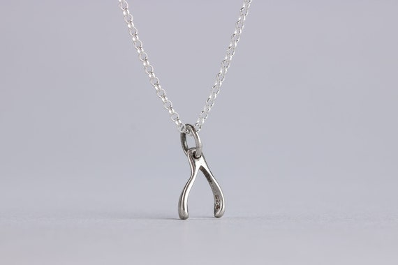 Tiny Silver Wishbone Necklace - Small Wishbone Charm in Sterling Silver - Friendship, Sister, Family Jewelry - Make a Wish - Little Wishbone
